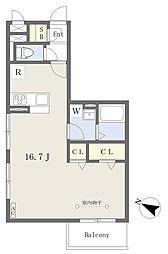 リヴェール草加松原 2階ワンルームの間取り