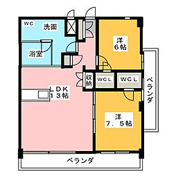 SK'BUILDING-8 7階2LDKの間取り