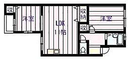 サンライズイナヤマB棟[3階]の間取り