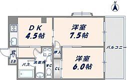 OMレジデンス八戸ノ里[301号室]の間取り