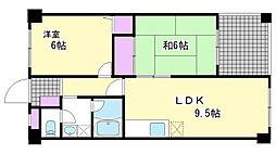 兵庫県神戸市須磨区戸政町4丁目の賃貸マンションの間取り