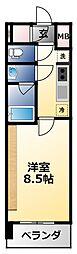 近鉄南大阪線 河堀口駅 徒歩8分の賃貸マンション 9階1Kの間取り