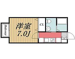 千葉県千葉市若葉区都賀3丁目の賃貸アパートの間取り