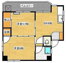 広島県広島市南区上東雲町の賃貸マンションの間取り