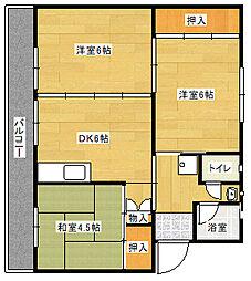 ビレッジハウス直方 2号棟[4階]の間取り