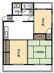 コーポラス岩崎[401号室]の間取り