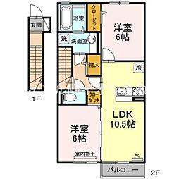 岡山県倉敷市児島味野4丁目の賃貸アパートの間取り