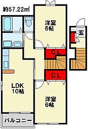 サンリットガーデンA[2階]の間取り