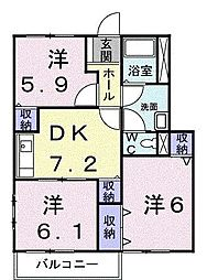 レモンヒル21B[105号室]の間取り