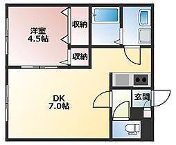 エクセルハウス月寒東 2階1DKの間取り