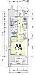 プレサンス新大阪ザ・シティ 3階1Kの間取り