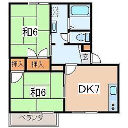 サンハイツ富士見B[101号室]の間取り