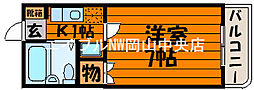 岡山県岡山市北区葵町の賃貸マンションの間取り