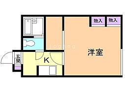 レオパレス札幌A棟 1階1Kの間取り