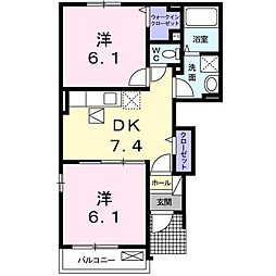 コンフォ−ト八幡 II[1階]の間取り