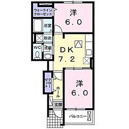ユニゾンC[1階]の間取り