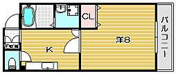 大阪府茨木市竹橋町の賃貸マンションの間取り