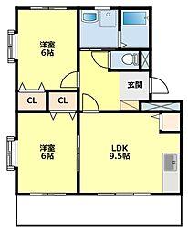 愛知県豊田市京町2丁目の賃貸アパートの間取り