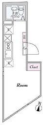 東京メトロ東西線 早稲田駅 徒歩2分の賃貸マンション 3階ワンルームの間取り