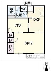 パインハイツ C棟[2階]の間取り