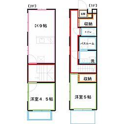 JR中央本線 国立駅 徒歩15分の賃貸アパート 2階2DKの間取り