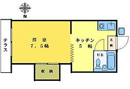 一聲堂コ−ポ[102号室]の間取り