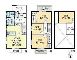 [タウンハウス] 徳島県徳島市東吉野町3丁目 の賃貸【/】の間取り