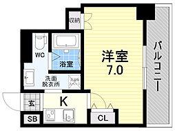 meet Me 梅田西 6階1Kの間取り