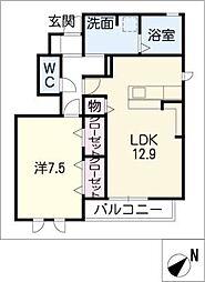 愛知県岡崎市中島西町1丁目の賃貸アパートの間取り