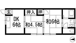 大阪府豊中市石橋麻田町の賃貸アパートの間取り