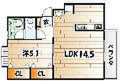 田の浦ハイツ[1階]の間取り