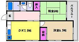 兵庫県神戸市東灘区鴨子ケ原3丁目の賃貸アパートの間取り