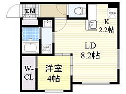 札幌市営東西線 西28丁目駅 徒歩4分の賃貸マンション 3階1LDKの間取り