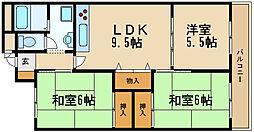 兵庫県尼崎市猪名寺1丁目の賃貸マンションの間取り