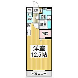 JR篠ノ井線 広丘駅 徒歩21分の賃貸マンション 1階ワンルームの間取り
