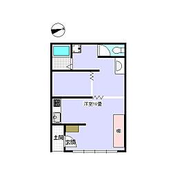 JR小海線 松原湖駅 徒歩23分の賃貸アパート 1階ワンルームの間取り