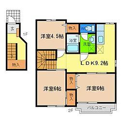 アビテMiyabi C[2階]の間取り