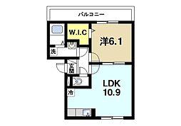 リビングタウン天理A 3階1LDKの間取り