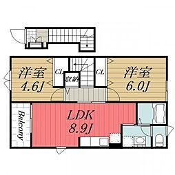 千葉県四街道市和良比の賃貸アパートの間取り