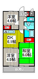 ハイクレスト喜沢南マンション[105号室]の間取り