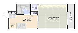 広島電鉄宮島線 地御前駅 徒歩24分の賃貸マンション 3階1DKの間取り