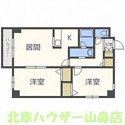北海道札幌市豊平区中の島一条6丁目の賃貸マンションの間取り