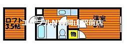 岡山県岡山市中区国富2丁目の賃貸アパートの間取り