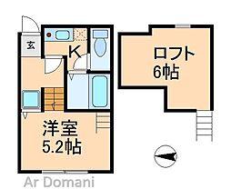 千葉県松戸市栄町西2丁目の賃貸アパートの間取り