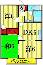 埼玉県越谷市西方2の賃貸アパートの間取り