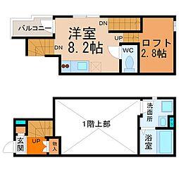愛知県名古屋市中村区亀島2の賃貸アパートの間取り