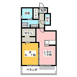 愛知県岡崎市大平町字榎田の賃貸アパートの間取り