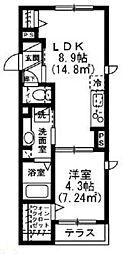 京王井の頭線 井の頭公園駅 徒歩31分の賃貸アパート 1階1LDKの間取り