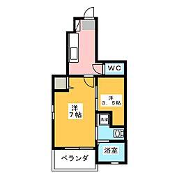 ヴァンベール蘭 B[1階]の間取り