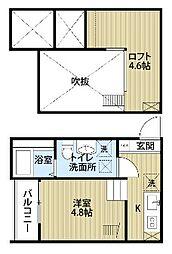愛知県名古屋市中村区十王町の賃貸アパートの間取り